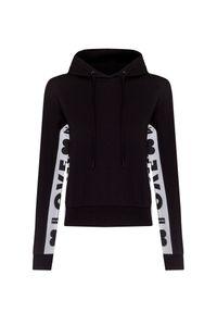 Czarna bluza Love Moschino krótka, w kolorowe wzory