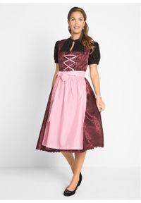 Sukienka ludowa z fartuchem, długość do łydki bonprix bordowy wzorzysty. Kolor: czerwony. Materiał: koronka