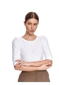 Biała bluzka TOP SECRET w ażurowe wzory