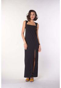 Czarna sukienka wizytowa Nommo maxi, na lato