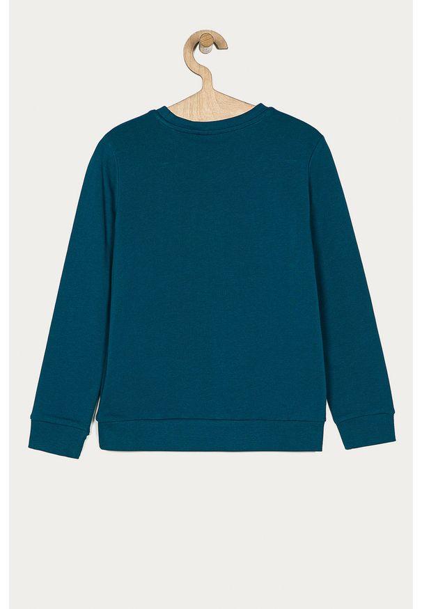 Niebieska bluza Guess Jeans bez kaptura, z nadrukiem, na co dzień, casualowa
