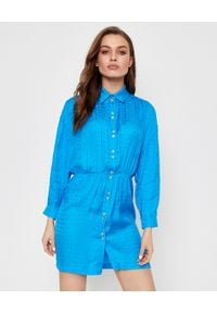 Pinko - PINKO - Niebieska sukienka Degno. Kolor: niebieski. Materiał: tkanina, satyna. Długość rękawa: długi rękaw. Wzór: geometria. Sezon: lato, wiosna. Typ sukienki: koszulowe. Długość: mini