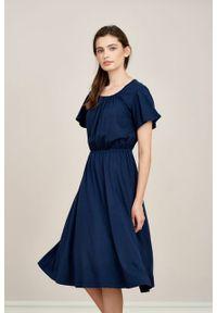 Marie Zélie - Sukienka Pola Black Iris mikromodal. Materiał: wiskoza, dzianina, elastan, włókno, skóra. Długość rękawa: krótki rękaw. Długość: midi