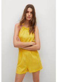 mango - Mango - Kombinezon LACI. Okazja: na co dzień. Kolor: żółty. Materiał: włókno, tkanina. Wzór: gładki. Styl: casual
