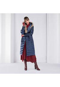 Niebieski płaszcz Wittchen na zimę, z kapturem, długi