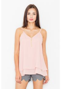 Figl - Zwiewna Różowa Dwuwarstwowa Bluzka na Ramiączkach. Kolor: różowy. Materiał: elastan, wiskoza, poliester. Długość rękawa: na ramiączkach