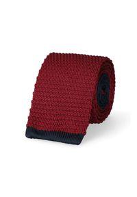 Lancerto - Krawat Bordowy. Okazja: na co dzień. Kolor: czerwony. Materiał: poliester, dzianina, materiał. Styl: sportowy, casual