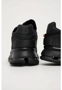 Czarne sneakersy On Running do biegania, z okrągłym noskiem
