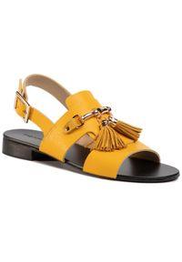 Żółte sandały Maccioni na co dzień, z aplikacjami
