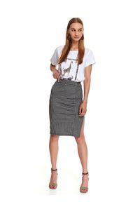 TOP SECRET - Dopasowana spódnica w kratę. Kolor: czarny. Materiał: materiał. Długość: do kolan. Sezon: jesień. Styl: elegancki