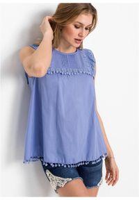 Bluzka z koronką bonprix niebieski. Kolor: niebieski. Materiał: koronka. Wzór: koronka