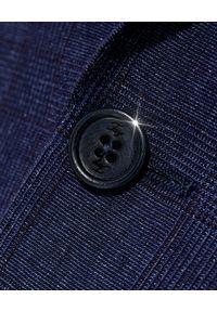 FAY - Granatowa marynarka w kratę. Kolor: niebieski. Materiał: tkanina, len, wełna. Długość rękawa: długi rękaw. Długość: długie. Styl: klasyczny