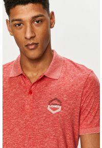 Czerwona koszulka polo Jack & Jones na co dzień, gładkie, krótka