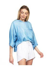 ROBERT KUPISZ - Błękitny t-shirt ORIENT RISING SUN. Okazja: na co dzień. Typ kołnierza: kaptur. Kolor: niebieski. Materiał: bawełna, dresówka, jeans. Wzór: nadruk. Styl: elegancki, casual