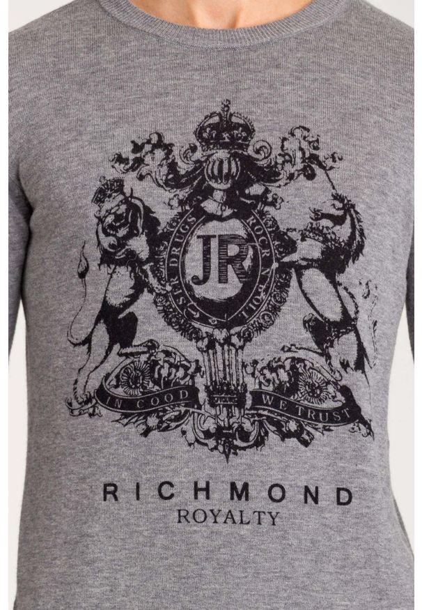 Sweter John Richmond w kolorowe wzory, z okrągłym kołnierzem