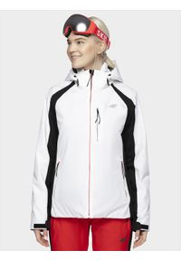 Biała kurtka narciarska 4f z kapturem, na zimę