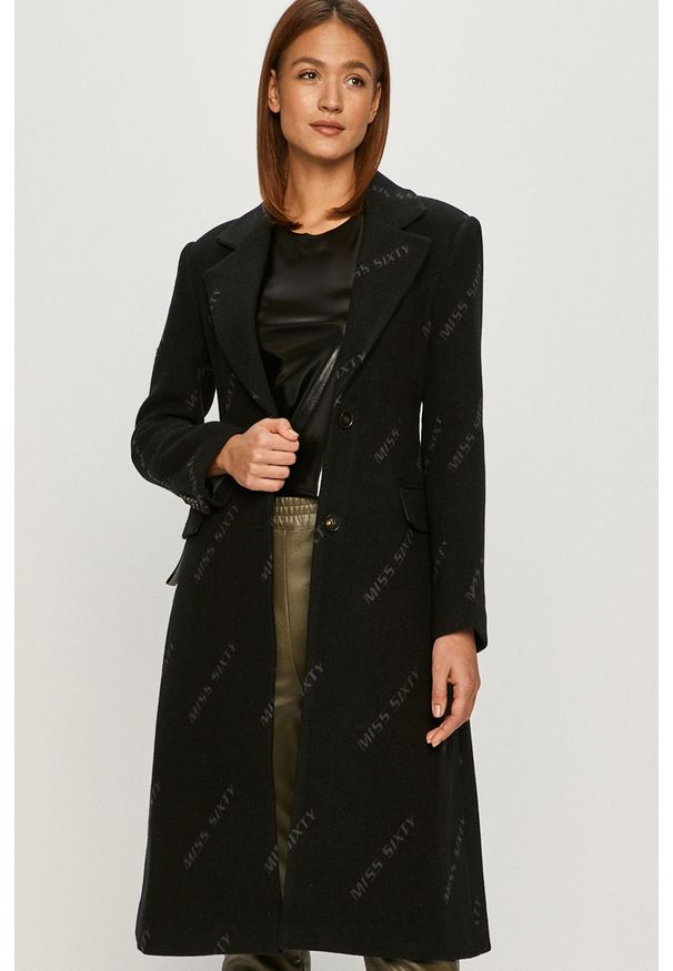 Czarny płaszcz Miss Sixty klasyczny, bez kaptura, na co dzień