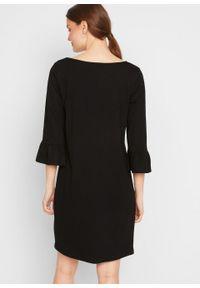 Sukienka z rękawami z falbanami bonprix czarny. Kolor: czarny. Materiał: jersey