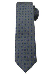 Męski Krawat w Drobne Kwadraciki - 6 cm - Angelo di Monti- Popielaty. Kolor: szary. Wzór: geometria