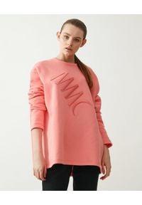 MMC STUDIO - Długa bluza z logo Label. Kolor: różowy, fioletowy, wielokolorowy. Materiał: materiał, bawełna. Długość rękawa: długi rękaw. Długość: długie. Wzór: haft, aplikacja