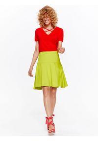 Żółta spódnica TOP SECRET w kolorowe wzory, elegancka, długa, na wiosnę
