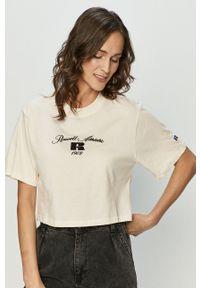 Russell Athletic - T-shirt. Kolor: beżowy. Wzór: nadruk