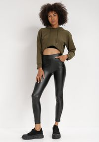 Born2be - Czarne Legginsy Parmea. Kolor: czarny. Materiał: skóra. Długość: długie