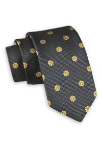 Szary Elegancki Krawat -Angelo di Monti- 6 cm, Męski, w Żółte Kwiatki. Kolor: złoty, żółty, wielokolorowy. Wzór: kwiaty. Styl: elegancki