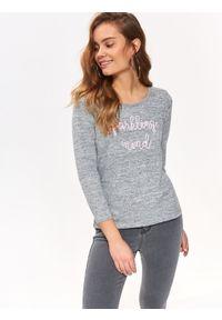 Szary sweter TOP SECRET na lato, z aplikacjami, casualowy, z krótkim rękawem