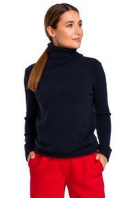 Niebieski długi sweter MOE klasyczny, z golfem