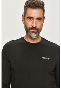 Czarna bluza nierozpinana Armani Exchange bez kaptura, casualowa, z nadrukiem, na co dzień