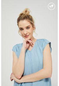 MOODO - Koszula lyocell. Materiał: lyocell. Długość rękawa: bez rękawów. Wzór: gładki