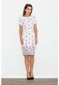Figl - Modna Ołówkowa Midi Sukienka w Kwiaty Wzór 60. Materiał: poliester. Wzór: kwiaty. Typ sukienki: ołówkowe. Długość: midi