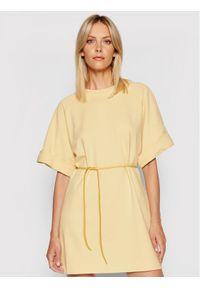 Imperial Sukienka codzienna ABZQBCR Żółty Regular Fit. Okazja: na co dzień. Kolor: żółty. Typ sukienki: proste. Styl: casual