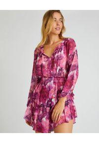 LOVE SHACK FANCY - Różowa sukienka Popover. Kolor: różowy, wielokolorowy, fioletowy. Materiał: zamsz, jedwab, wełna. Długość rękawa: długi rękaw. Wzór: kwiaty, nadruk. Sezon: jesień, lato. Długość: mini