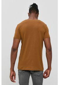 Tom Tailor - T-shirt bawełniany. Okazja: na co dzień. Kolor: brązowy. Materiał: bawełna. Wzór: nadruk. Styl: casual