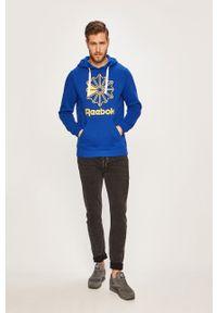 Niebieska bluza nierozpinana Reebok Classic z nadrukiem, z kapturem