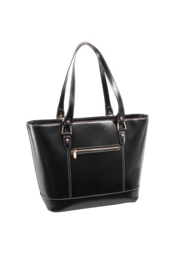 Czarna torba na laptopa MCKLEIN z aplikacjami, biznesowa