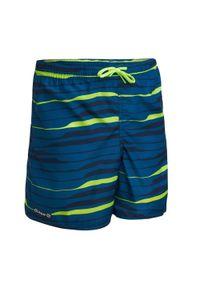 OLAIAN - Spodenki Surfing Bs 100 Line Up Dla Dzieci. Kolor: turkusowy, niebieski, wielokolorowy. Materiał: materiał, poliester. Długość: krótkie