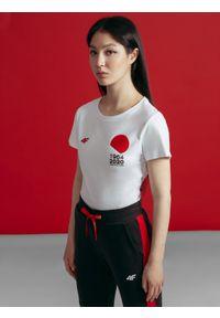 4f - T-shirt damski z kolekcji kibica FROM PAST TO FUTURE. Kolor: biały. Materiał: dzianina, bawełna. Wzór: nadruk