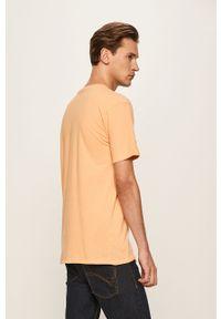 Pomarańczowy t-shirt Quiksilver z nadrukiem, na co dzień, casualowy