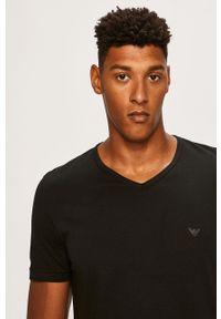 Czarny t-shirt Emporio Armani casualowy, gładki, na co dzień