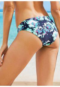 Figi bikini bonprix ciemnoniebiesko-miętowy w kwiatowy deseń. Kolor: niebieski. Wzór: kwiaty
