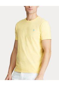 Ralph Lauren - RALPH LAUREN - Żółta koszulka Slim Fit. Okazja: na co dzień. Typ kołnierza: polo. Kolor: żółty. Materiał: wełna, bawełna. Długość: długie. Wzór: haft. Sezon: lato. Styl: casual, klasyczny
