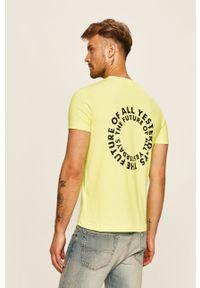 T-shirt Diesel na co dzień, z nadrukiem, z okrągłym kołnierzem
