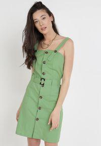 Born2be - Zielona Sukienka Theisethis. Typ kołnierza: dekolt kwadratowy. Kolor: zielony. Materiał: bawełna, materiał, elastan. Długość rękawa: na ramiączkach. Typ sukienki: sportowe. Styl: sportowy. Długość: mini