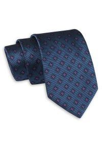Niebieski krawat Angelo di Monti w geometryczne wzory, klasyczny