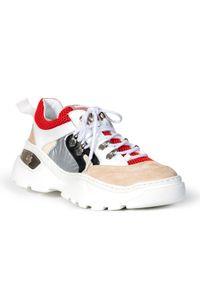 Białe sneakersy Baldinini na sznurówki, na platformie
