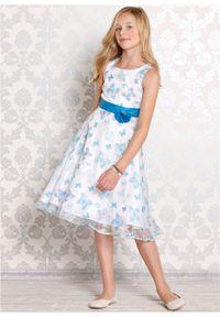 Sukienka dziewczęca na uroczyste okazje bonprix biało-turkusowy motyl. Kolor: biały. Wzór: aplikacja, nadruk