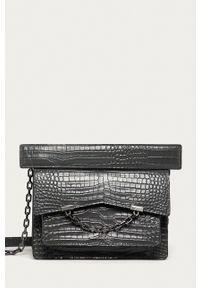 Karl Lagerfeld - Torebka skórzana. Kolor: szary. Materiał: skórzane. Rodzaj torebki: na ramię